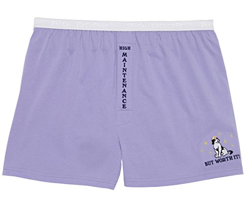 High Embroidered Panty Cut (Big Dogs Women s High Maintenance Embroidered Knit Boxer 26/28 Hyacinth Purple)