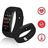 Fitness Tracker,kirlor New Version Colorful Screen Smart Bracelet with Heart Rate Blood Pressure Blood oxygen Monitor,Smart Watch Pedometer Activity Tracker Bluetooth for Android & IOS(Black)