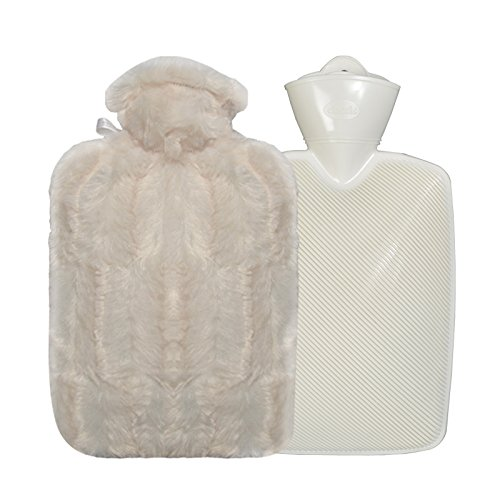 HUGO FROSCH, 1.8 LClassic Hot-Water Bottle with High-Pile Microfiber, Velvety Fur Look, Cover, white - Made in Germany