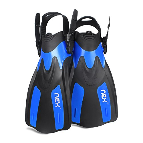 Adult Snorkeling Swim Fins Short blade Diving Fins Adjustable Flippers,1 Pair (Blue, - Training Fins Blade Short