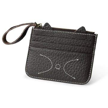 Womens Bags Coin Purse /& Card Holder Coffee Women Genuine Leather Coin Purse Cat 4 Cards Slots Slim Wallet