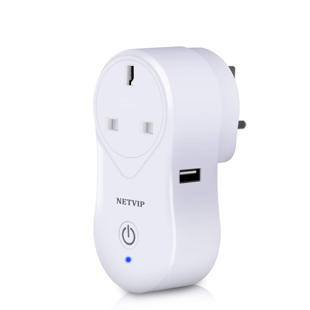 Works with  Echo Alexa Google Assistant NETVIP Portabler Remote Control Smart Socket R Mini Home Outlet Timing Schedule, Audio Control, USB Charging, No Hub Required WiFi Smart Plug