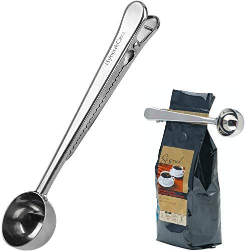 Hyber&Cara Cuchara medidora para cafe, cuchara de cafe acero inoxidable, 18,5 cm, aptas para el lavavajillas
