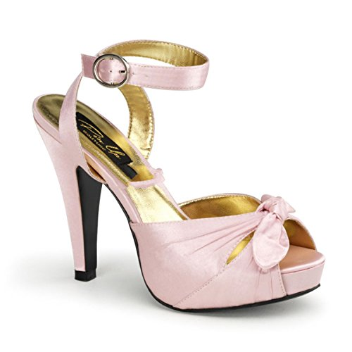 Pin Up Couture - Sandalias de vestir de satén para mujer Rosa Baby Pink