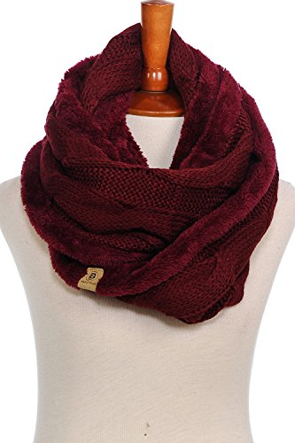 Review Basico Women Winter Warm Knit Infinity Scarf Tassels Soft Shawl Various Colors (2pk Fur Cable Burgundy/ C. Grey)