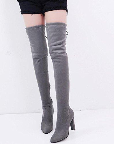 Amiley Damesmode Stretch Faux Slanke Hoge Ziplaarzen Over De Knie Laarzen Hoge Hakken Schoenen Grijs