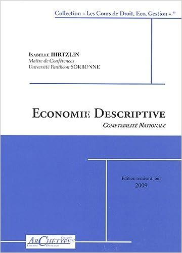 Lire en ligne Economie descriptive : Comptabilité nationale pdf