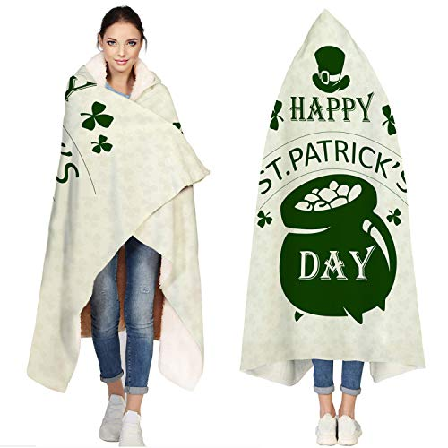 T&H Home Hooded Jersey Soft Fleece Sherpa Wearable Travel Warm Cozy Throw Blanket Poncho - St Patricks Day Blanket, Green Design Irish Pride Lucky Shamrock Flannel Cloak Cape Hoodies - 60x80 inch