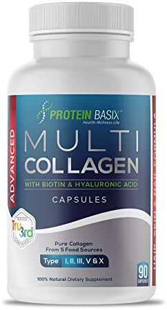 Advanced Multi Collagen Powder Capsules. Hair Skin and Nail Formula. Collagen Peptides Plus Biotin 5000 Mcg, Hyaluronic Acid, Silica & Vitamin C. Anti Aging, Hair Growth, Skin, Nail & Joint Support