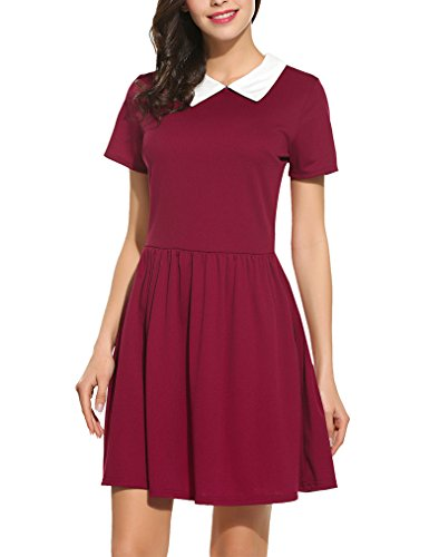 Red School Dress (Women's 50s Short Sleeve Peter Pan Pleated Work Dress Wine Red XXL)