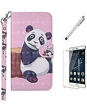 Ttimao Hoesje voor Samsung Galaxy Note 9 Flip PU Lederen Portemonnee 3D-Patroon Etui Hoezen+1*Screen Protector met Magnetische Houder Shock Proof Telefoonhoes-Panda