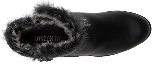 London Fog Womens Hester Warm gefütterte Stiefelette Schwarz