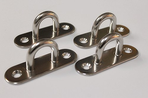 MHMYDZ 4-pcs Stainless Steel Wall Mount Hook/Pad Eye (3 1/8-inch)