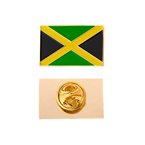 Jamaica Flag Lapel Pin - Desert Cactus Jamaica Country Rectangle Flag Lapel Pin Enamel Made of Metal Souvenir Hat Men Women Patriotic Jamaican (Rectangle Pin)