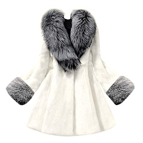 kemilove Women's Winter Outerwear Lapel Long Faux Fur Coat ()
