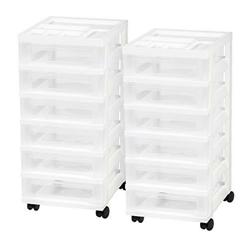 IRIS 6-Drawer Rolling Storage Cart with Organizer Top, White, 2 Pack (Storage Containers Mobile)