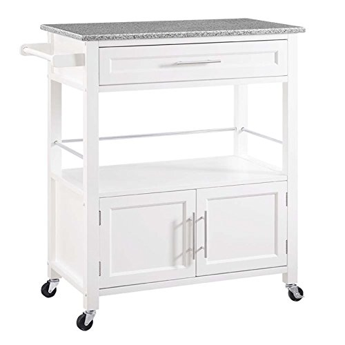 (Riverbay Furniture Granite Top Kitchen Cart in White)