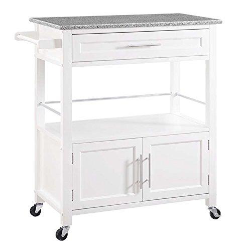 Riverbay Furniture Granite Top Kitchen Cart in White (Marble Top Kitchen Island)