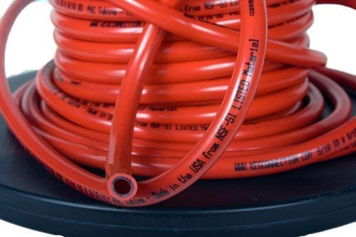 Line Beer Hose - 25 Foot Red Gas/Air Hose, 5/16 inch ID and 9/16 inch OD