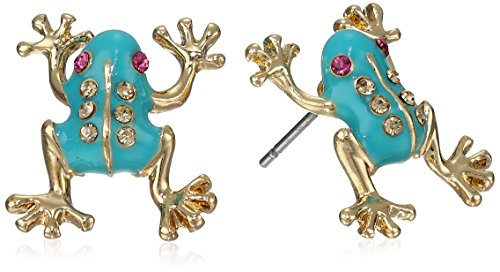 Betsey Johnson Teal and Gold Frog Stud Earrings