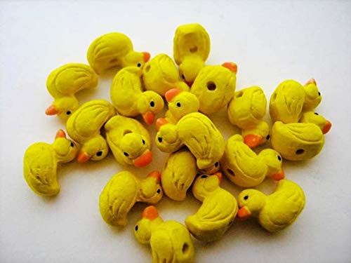 (Design Ideas - 10 Ceramic Animal Beads - Tiny Rubber Ducky - CB235 - Unique Selection Beads)