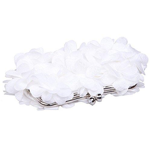 Women's Bag Shoulder Tailor Flower Evening Lock Chain White Fashion Purse Clutch Kiss HB1qtHxrw