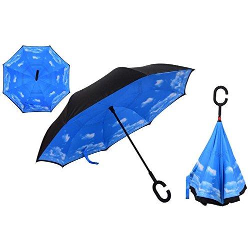 Autonorth Kreative Flip Regenschirm Doppelte Golfschirm Doppelte UV Schutz Sonnenschirme umkehren Auto Regenschirm Wasserdicht und winddicht - blau with White Cloud