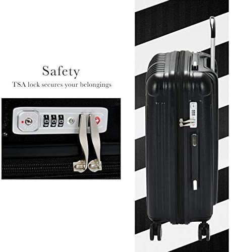Murtisol 3 Pieces ABS PC Luggage Sets, Expandable TSA Lock, 210D lining, Durable Spinner Suitcase 20 24 28 , 3PCS Black