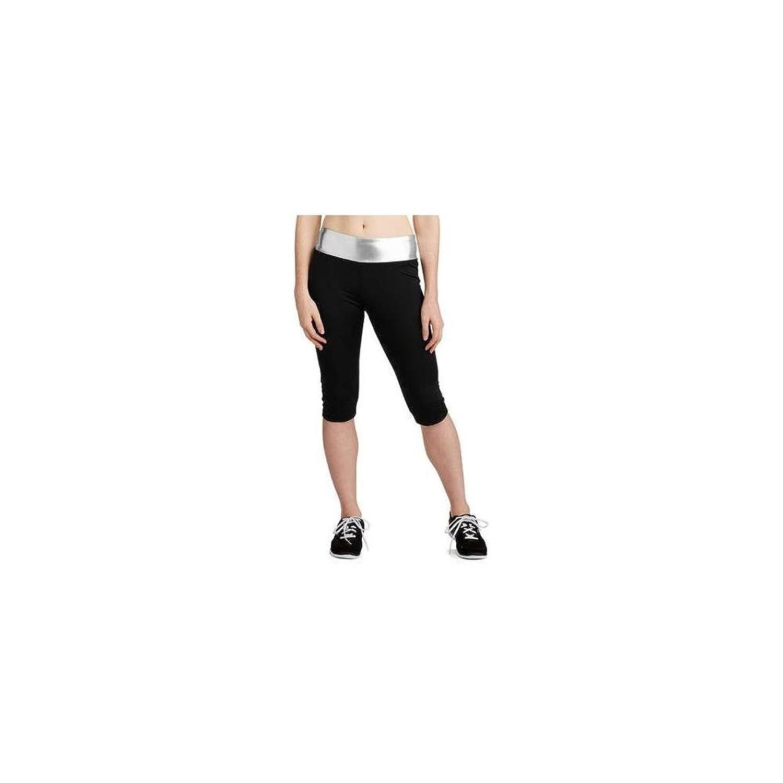 No Boundaries Juniors Athletic Metallic Capri Pants, Black/Silver, Sma