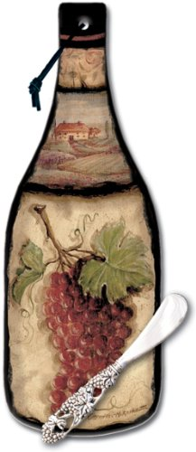 CounterArt Tuscan Collage Wine Bottle Shaped 12-1/2 Inch Glass Cheese Board with Spreader (Wine Glass Cheese Knife)