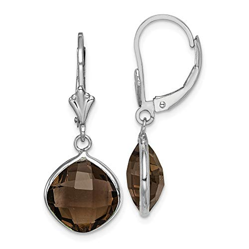 (925 Sterling Silver Smoky Quartz Drop Dangle Chandelier Lever Back Leverback Earrings Fine Jewelry Gifts For Women For Her)