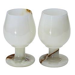RADICALn Marble Wine Glasses 5.4 Oz 5 x 3 inches - Set of 2 Wine Glasses (White Onyx)