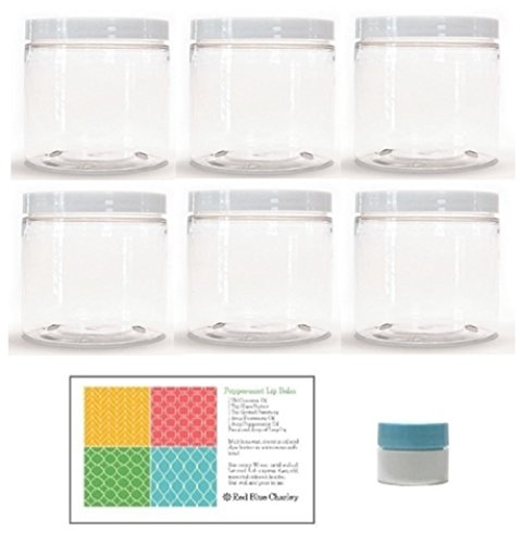 Clear 16 oz Plastic Jars with White Lids (6 pk) with Mini Jar - PET Round Refillable Containers