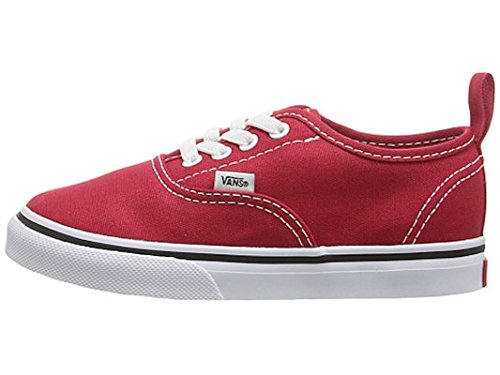 Vans Kids Authentic Elastic (Elastic Lace) Skate Shoe Racing Red/True White (Vans Slip Ons Girls)