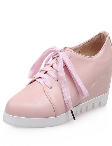ZQ Zapatos de mujer - Plataforma - Plataforma / Punta Redonda - Oxfords - Casual - Semicuero - Negro / Rosa / Blanco , pink-us10.5 / eu42 / uk8.5 / cn43 , pink-us10.5 / eu42 / uk8.5 / cn43 black-us4-4.5 / eu34 / uk2-2.5 / cn33