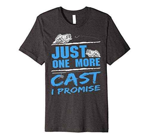 Mens Just One More Cast I Promise Fishing Addicts T-Shirt Large Dark Heather (Addict Dark T-shirt)