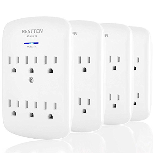 [4 Pack] BESTTEN 6-Outlet Grounded Wall Tap Adapter Outlet Extender with Blue Indicator, 300 Joule Surge Protector, ETL Certified, White by BESTTEN