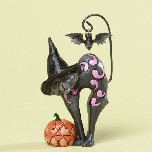 Jim Shore for Enesco Heartwood Creek 4.25-Inch Black Cat with Bat Figurine, Mini
