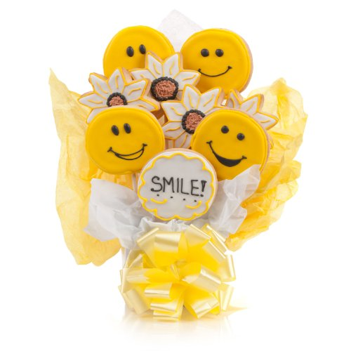 gourmet cookie bouquets - Smile! Cookie Bouquet- 9 Pc Bouquet