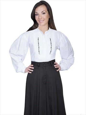 Victorian Blouses, Tops, Shirts, Vests Bib Embroidery - White  AT vintagedancer.com
