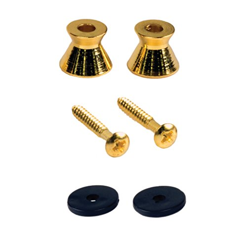 Gold Guitar Strap Buttons - Seismic Audio 2 Pack of Gold Strap Buttons for Electric Guitars-Universal fit (SAGA62-2Pack)