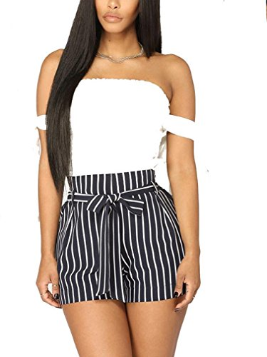 Gogolan Fashion Womens High Waist Striped Tie Belt Casual Shorts Summer Pleated Pants with Pocket (L, Navy) (Fashion Waisted Belt)