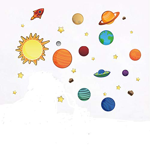 Colorful Planets in The Space Solar System with Star Wall Stickers Removable Wall Decal for Girls and Boys Nursery Baby Room Childrens Bedroom
