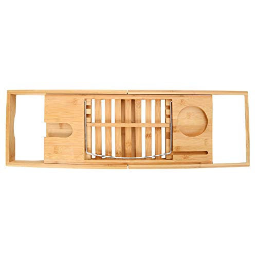 UMFun Bamboo Bathtub Caddy Tray with Extending Sides, Ipad Tray and Wineglass Holder -