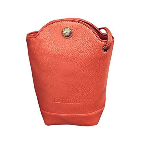 (2019 Respctful ✿Women Tote Bucket Bag, Leather Wide Strap Shoulder Bags Handbag Cross-Body Bag Orange)