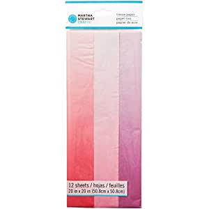 "Martha Stewart Tissue Paper (12 Pack), 20"" by 20"", Pink Ombre"