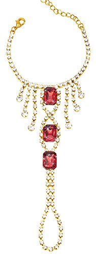 The Paragon Crystal Bracelet with Attached Ring Ruby Red Finger Wrist Chain Jewelry