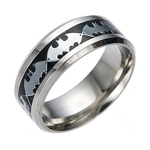 Feixingjewelry 8mm Black Silver Batman Ring Symbol Men Titanium Stainless Steel Silver Ring Band - Batman Ring Of