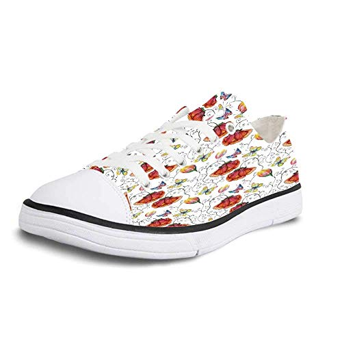Canvas Sneaker Low Top Shoes,Watercolor Doodle Drawing Style Natural Scene with Butterflies and Flowers Swirl Stripes Decorative Women 7 -