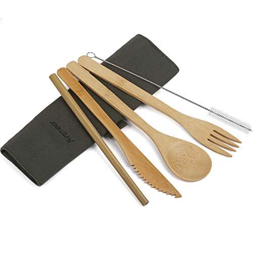 Travel Utensil Sets Flatware Set Serving Bamboo...